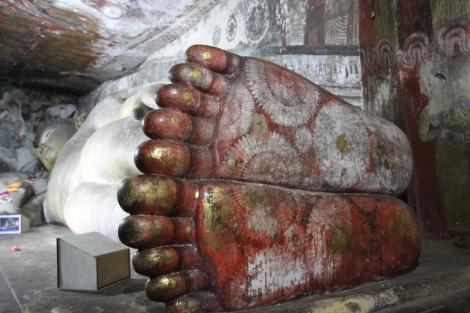Un detalle de las cuevas de Dambulla
